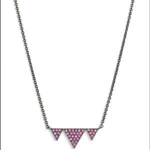 NADRI HEMATITE PLATE HOT PINK CRYSTAL NECKLACE NWT